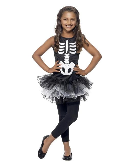 """40"""" Black and White Skeleton Tutu Girl Child Halloween Costume - Large - IMAGE 1"""