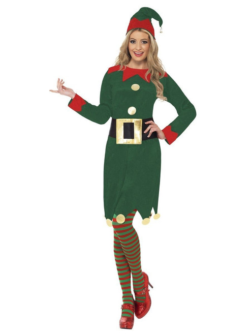 """42"""" Red and Green Elf Women Adult Christmas Costume - Large - IMAGE 1"""