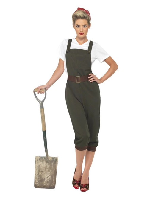 """40"""" Green and White 1940's Style WW2 Land Girl Women Adult Halloween Costume - X1 - IMAGE 1"""