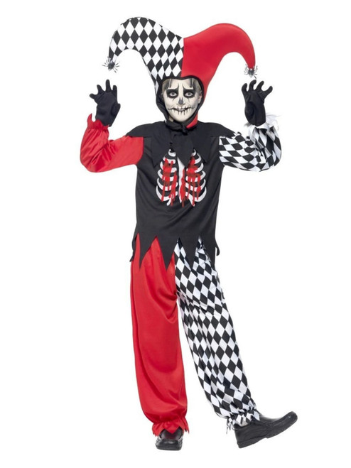 """42"""" Black and Red Blood Curdling Jester Boy Tween Halloween Costume - One Size - IMAGE 1"""