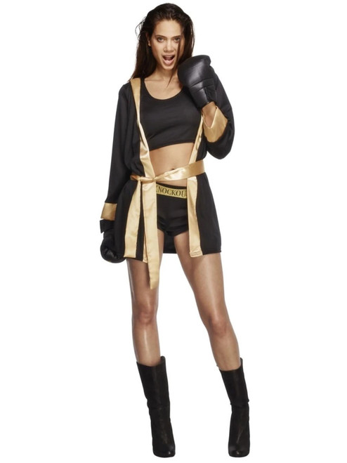 """49"""" Black and Gold Knockout Women Adult Halloween Costume - Small - IMAGE 1"""