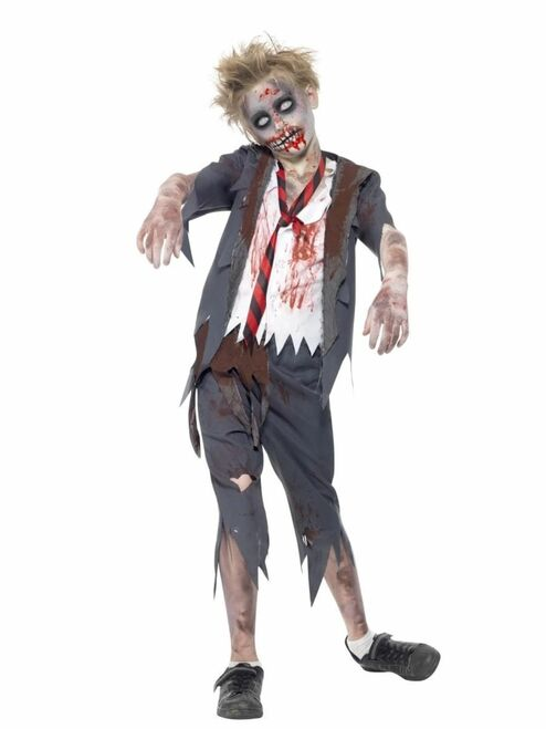 "49"" Gray and White Zombie School Boy Tween Halloween Costume - One Size - IMAGE 1"