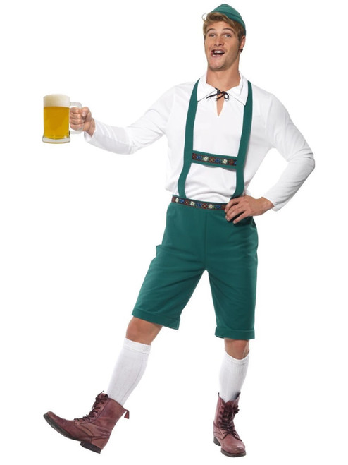 """40"""" White and Green Oktoberfest Men Adult Halloween Costume - Extra Large - IMAGE 1"""