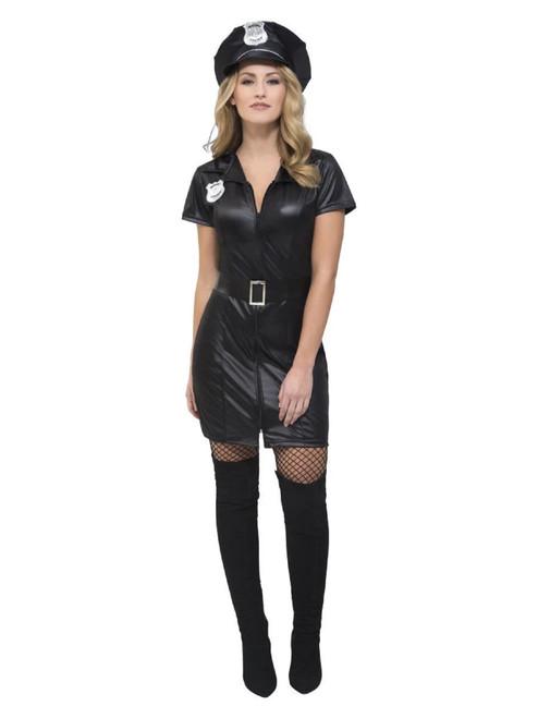 "40"" Black Fever Corrupt Cop Women Adult Halloween Costume - Small - IMAGE 1"