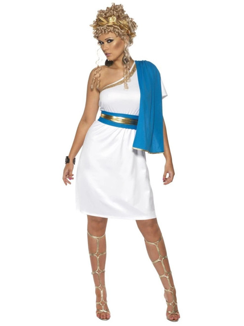 "40"" White and Blue Roman Beauty Women Adult Halloween Costume - Large - IMAGE 1"
