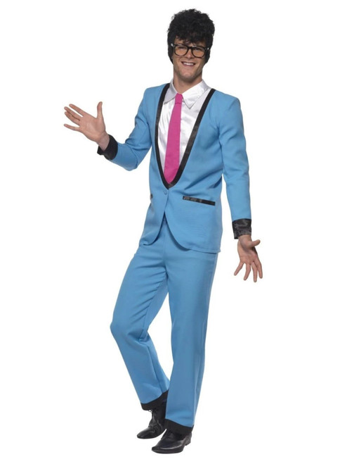 "41"" Blue and White Teddy Boy Men Adult Halloween Costume - Medium - IMAGE 1"