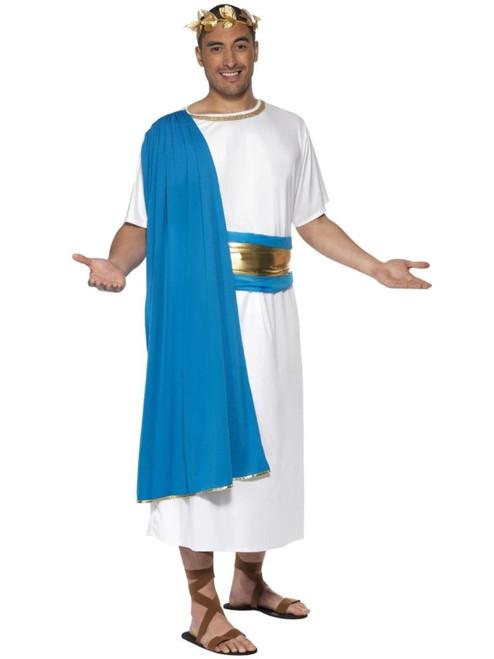 "42"" White and Blue Roman Senator Men Adult Halloween Costume - Large - IMAGE 1"