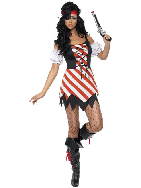 """42"""" Red and White Striped Pirate Women Adult Halloween Costume - Medium - IMAGE 1"""