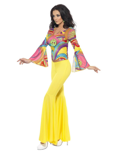 """49"""" Yellow and Violet 1970's Style Groovy Babe Women Adult Halloween Costume - Medium - IMAGE 1"""