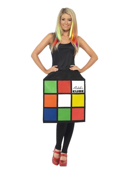 "65"" Black and Red Rubik's 3D Cube Women Adult Halloween Costume - Small - IMAGE 1"