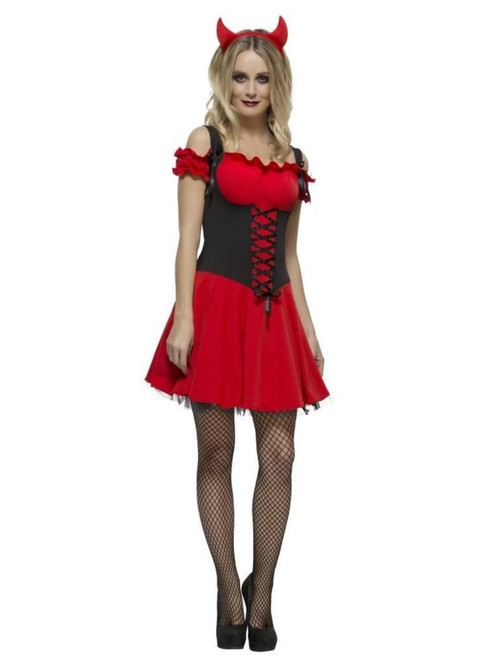 """49"""" Red and Black Fever Wicked Devil Women Adult Halloween Costume - Large - IMAGE 1"""