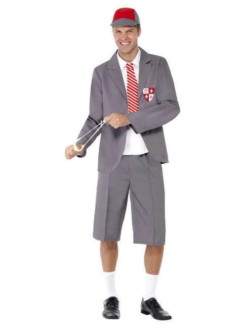 """49"""" Gray and White Schoolboy Men Adult Halloween Costume - Large - IMAGE 1"""