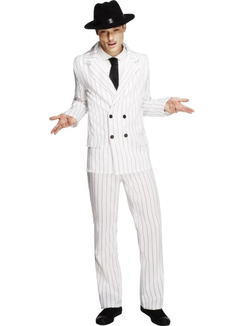 """49"""" White and Black Fever Gangster Striped Men Adult Halloween Costume - Small - IMAGE 1"""