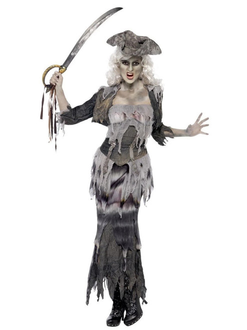 """49"""" Gray and Black Ghost Ship Ghoulina Women Adult Halloween Costume - Large - IMAGE 1"""