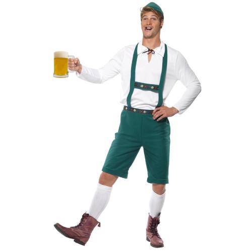 "40"" White and Green Oktoberfest Men Adult Halloween Costume - Large - IMAGE 1"
