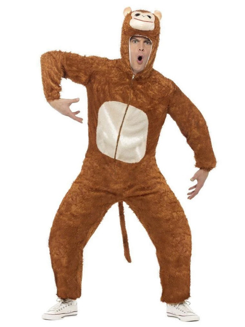 """50"""" Brown and Cream White Monkey Unisex Adult Halloween Costume - Large - IMAGE 1"""