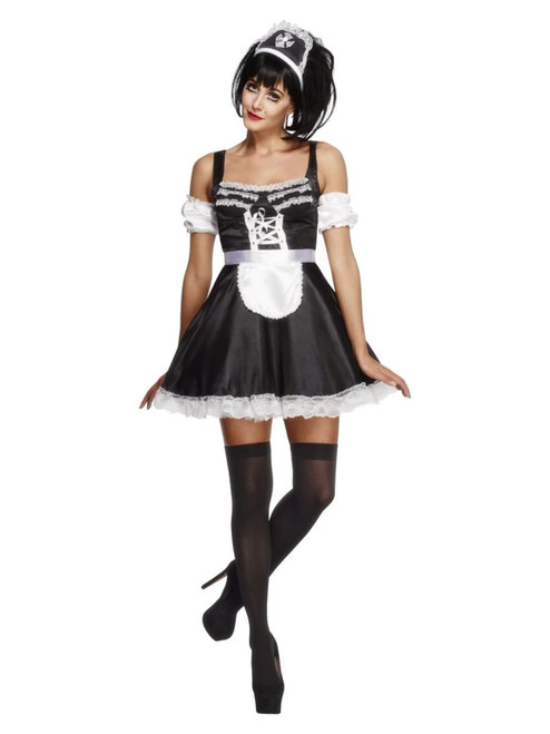 """42"""" Black and White Fever Flirty French Maid Women Adult Halloween Costume - Small - IMAGE 1"""