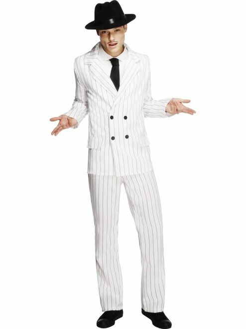 """50"""" White and Black Fever Gangster Striped Men Adult Halloween Costume - Large - IMAGE 1"""