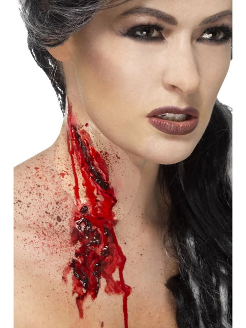 "20"" Red Slash Throat Scar Unisex Adult Halloween Make-Up FX Costume Accessory - IMAGE 1"
