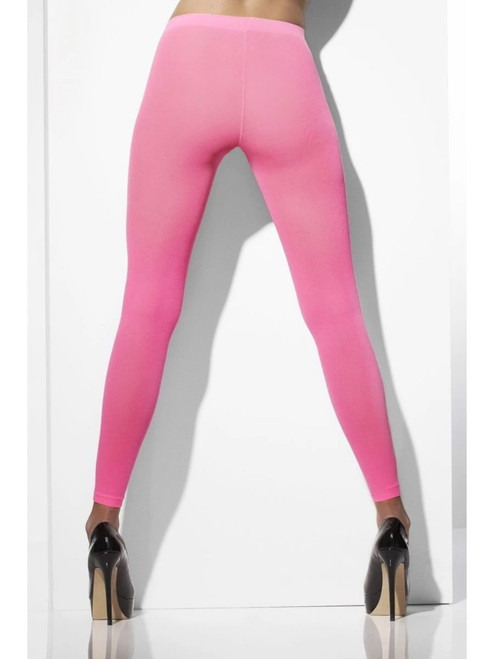 """19.5"""" Neon Pink Fever Hosiery Opaque Footless Women Adult Halloween Tights Costume Accessory - One Size - IMAGE 1"""