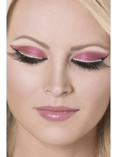 """11"""" Black and Silver Glitter Women Adult Halloween Eyelashes Costume Accessory - One Size - IMAGE 1"""
