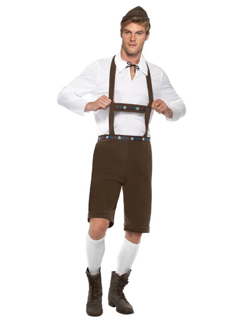 """40"""" Brown and White Bavarian Men Adult Halloween Costume - Large - IMAGE 1"""