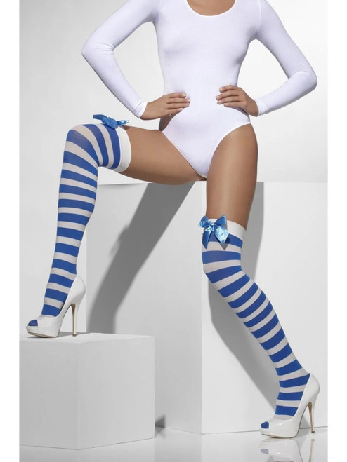 """20"""" Blue and White Opaque Women Adult Halloween Hold Ups with Bows Costume Accessory - One Size - IMAGE 1"""