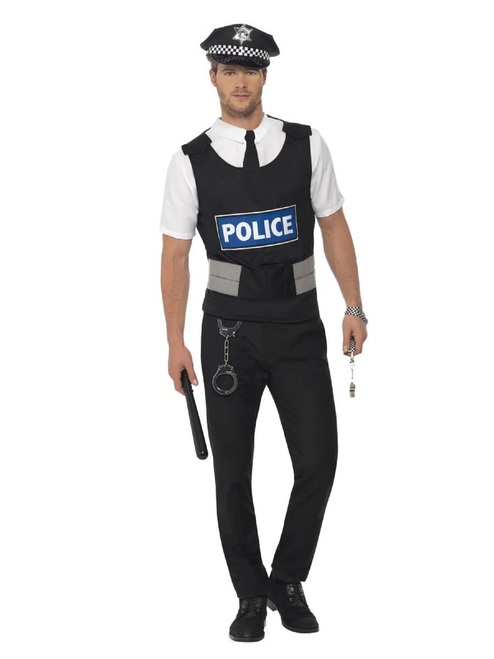 """49"""" Black and White Policeman Instant Men Adult Halloween Costume Kit - Large - IMAGE 1"""