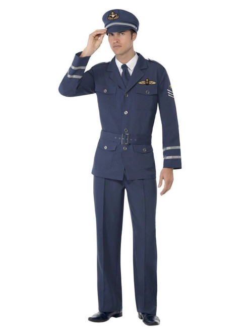 """49"""" Blue 1940 Style WW2 Air Force Captain Men Adult Halloween Costume - Large - IMAGE 1"""