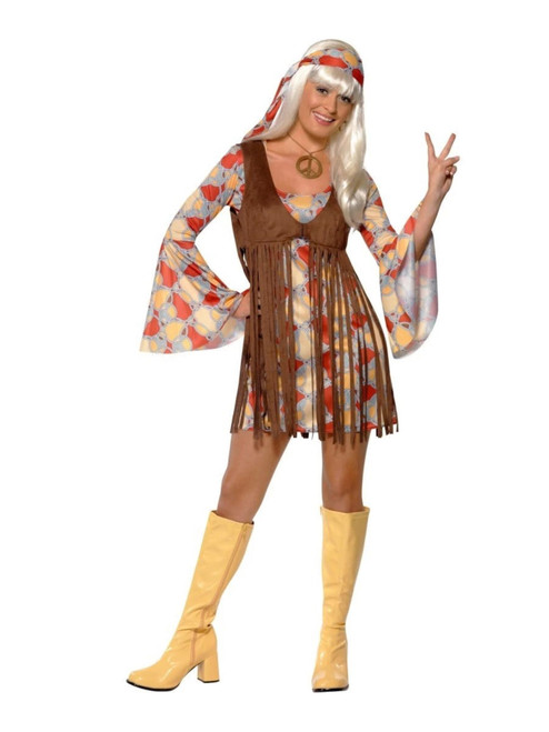 """49"""" Brown and Red 1960's Style Groovy Baby Women Adult Halloween Costume - Large - IMAGE 1"""