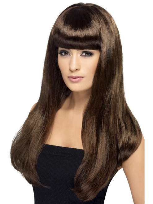 """26"""" Brown Babelicious Long Hair Women Adult Halloween Wig Costume Accessory - One Size - IMAGE 1"""
