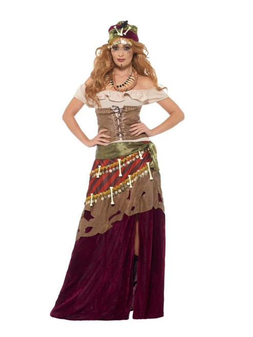 "41"" Brown and Red Voodoo Priestess Women Adult Halloween Costume - Large - IMAGE 1"