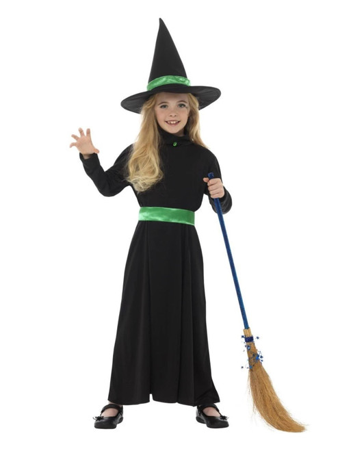 """58"""" Black and Green Wicked Witch Girl Child Halloween Costume - Medium - IMAGE 1"""