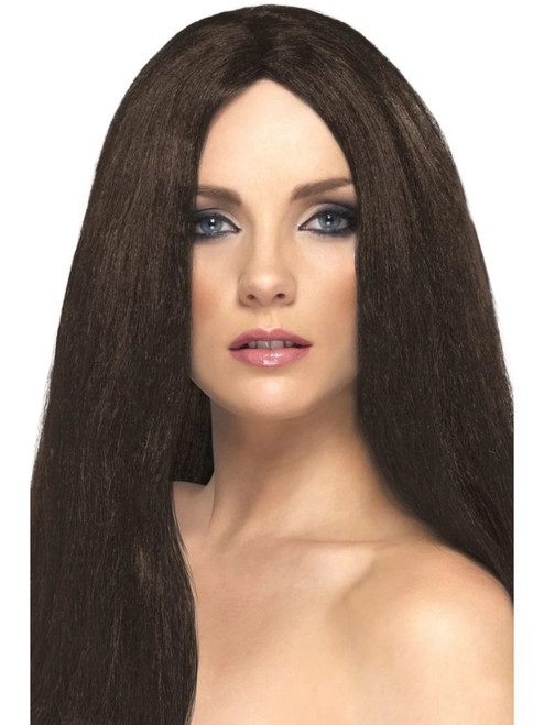 "26"" Brown Flirty Straight Long Star Style Women Adult Halloween Wig Costume Accessory - One Size - IMAGE 1"