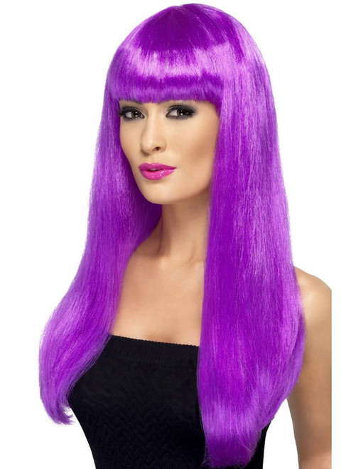 """26"""" Purple Babelicious Long Hair Women Adult Halloween Wig Costume Accessory - One Size - IMAGE 1"""