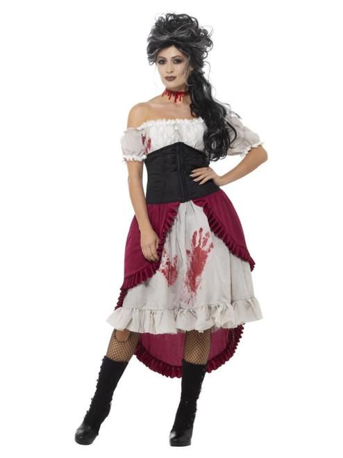 "48"" White and Black Victorian Slasher Victim Women Adult Halloween Costume - Small - IMAGE 1"