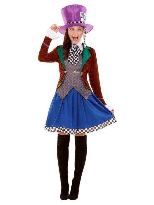 """42"""" Brown and Blue Miss Hatter Women Adult Halloween Costume - XS - IMAGE 1"""