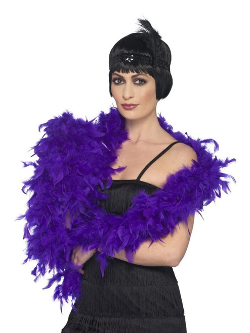 "28"" Purple 1920's Style Fluffy Feather Adult Women Halloween Boa Costume Accessory - IMAGE 1"