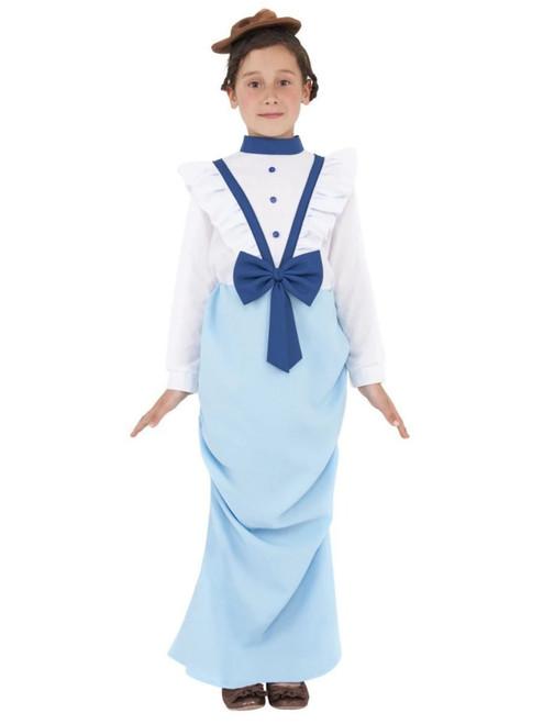 "49"" Blue and White Posh Victorian Girl Child Halloween Costume - Medium - IMAGE 1"
