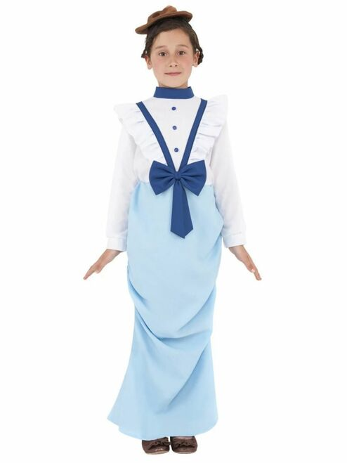 """49"""" Blue and White Posh Victorian Girl Child Halloween Costume - Large - IMAGE 1"""