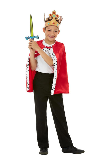 "49"" Red and White Unisex Child Halloween Royal King Kit Costume Accessory - Large - IMAGE 1"