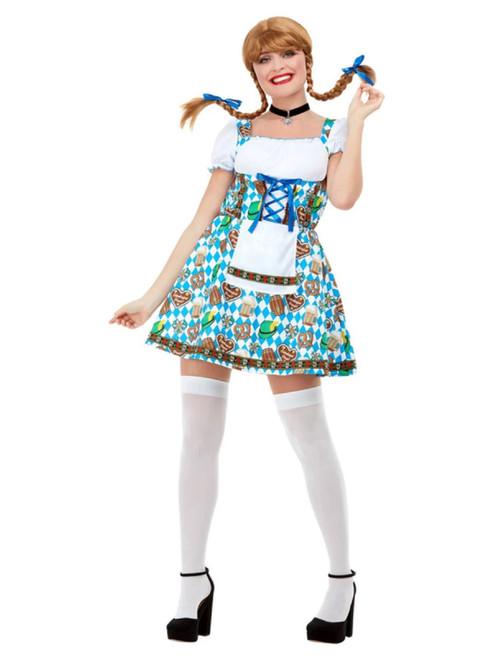 "42"" White and Sky Blue Oktoberfest Beer Maiden Women Adult Halloween Costume - XS - IMAGE 1"