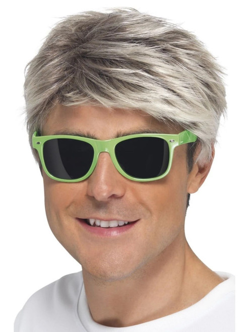 """17"""" Neon Green and Blue 1980 Style Unisex Adult Glasses Halloween Costume Accessory - One Size - IMAGE 1"""