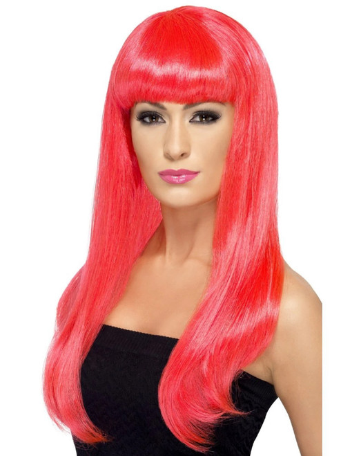 "26"" Neon Pink Babelicious Long Hair Women Adult Halloween Wig Costume Accessory - One Size - IMAGE 1"