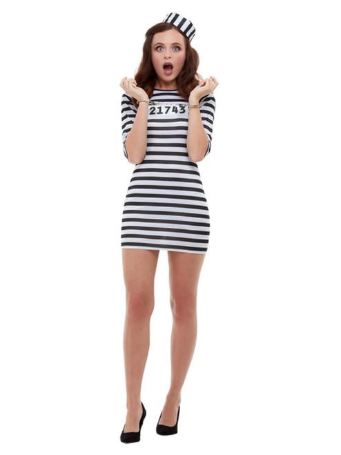 "41"" Black and White Striped Convict Women Adult Halloween Costume - Medium - IMAGE 1"