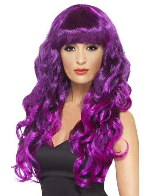 "26"" Purple Flirty Fringe Curly Long Women Adult Halloween Siren Wig Costume Accessory - One Size - IMAGE 1"