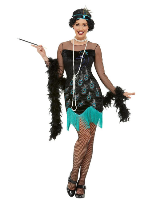 "49"" Green and Blue 1920's Style Peacock Flapper Women Adult Halloween Costume - Large - IMAGE 1"