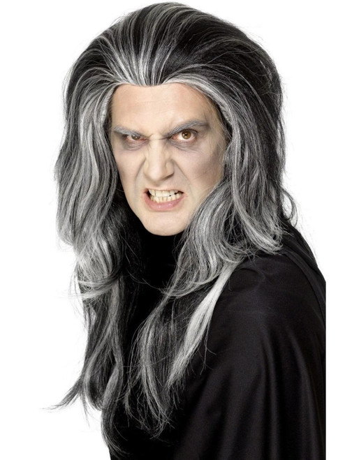 """26"""" Black and White Gothic Vampire Unisex Adult Halloween Wig Costume Accessory - One Size - IMAGE 1"""