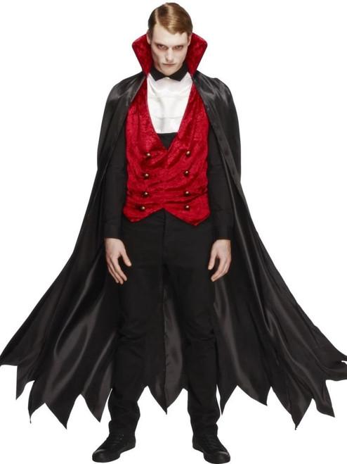 "40"" Black and Red Fever Vampire Men Adult Halloween Costume - Medium - IMAGE 1"