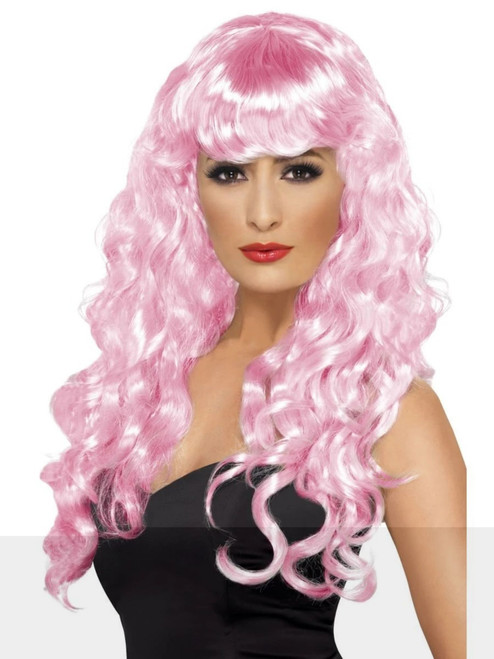 "26"" Pink Flirty Fringe Curly Long Women Adult Halloween Siren Wig Costume Accessory - One Size - IMAGE 1"